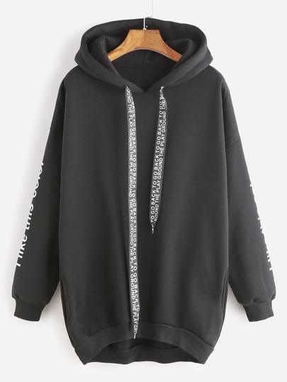 Black Hooded Drop Shoulder Slogan Print Dip Hem Sweatshirt