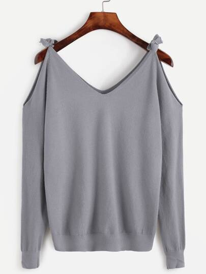 Jersey Pullover Cut-Outs Schulter-grau