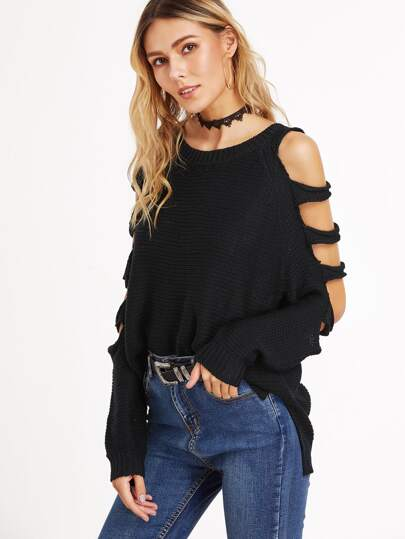Ladder Cut Out Sleeve Slit Side High Low Sweater