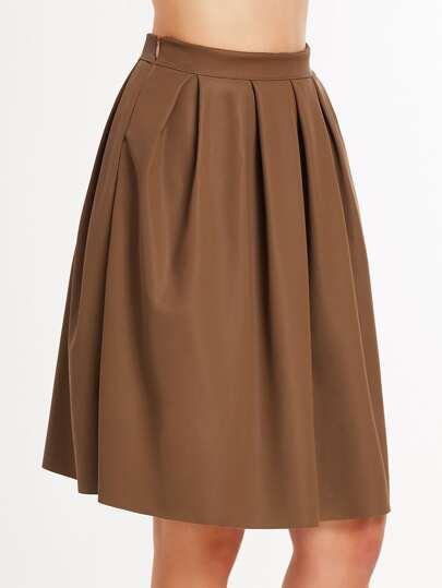 Khaki Faux Leather Pleated Skirt