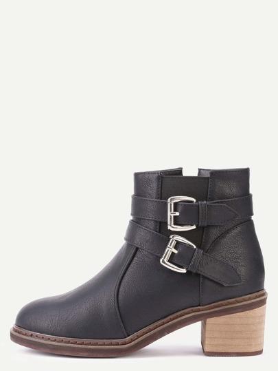 Чёрные кожаные ботинки  с пряжкой на пробковых каблуках