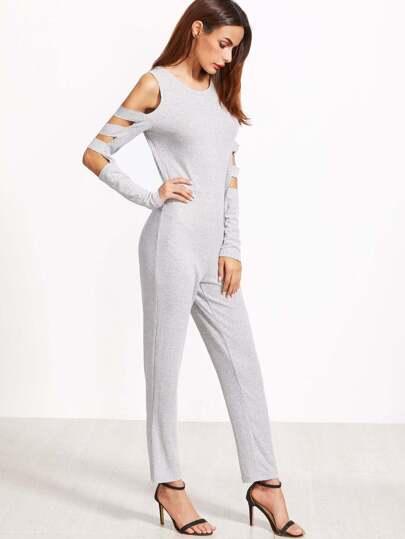 Combinaison à nervures tricoté coupé sur manche -gris bruyère
