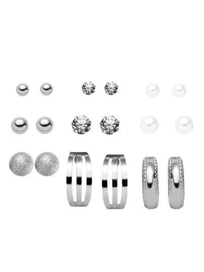 Silver Multi Shape Stud Earring Set