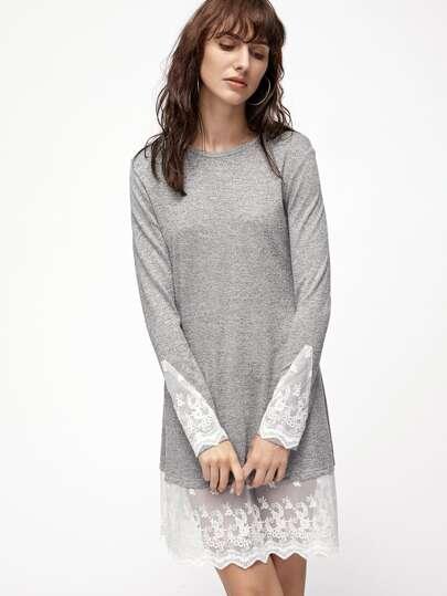 Grey Marled Knit Contrast Lace Trim Dress