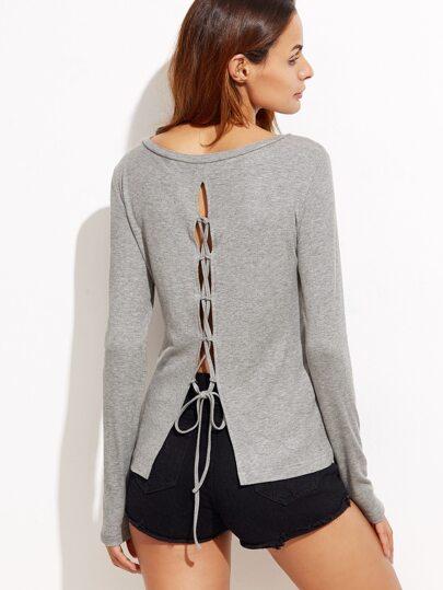 T-shirt dos avec lacet - gris