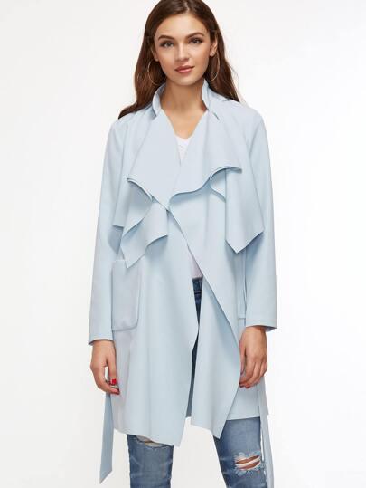 Blue Drape Collar Pocket Front Wrap Coat