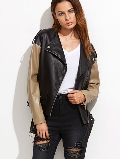 Contrast Faux Leather Belted Hem Biker Jacket