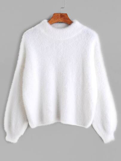 White Crew Neck Drop Shoulder Fuzzy Sweater