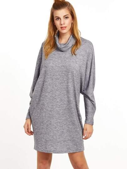 Heather Grey Cutout Cowl Neck Dolman Sleeve Dress