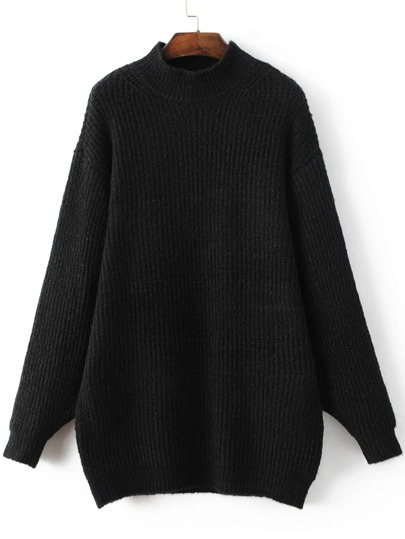 Black Mock Neck Drop Shoulder Sweater Dress