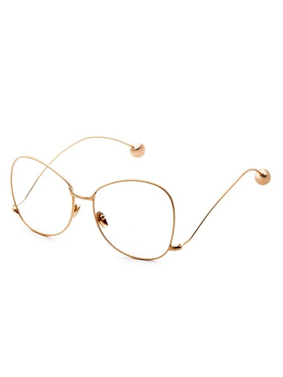 Gold Frame Large Lens Metal Ball Stylish Glasses