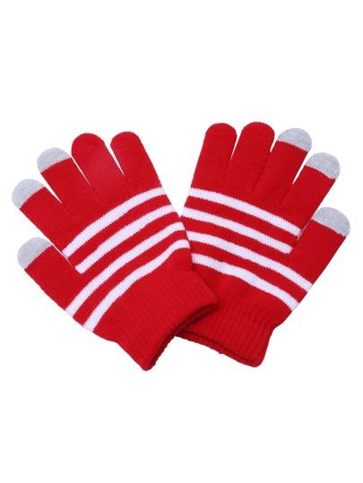Gants tricoté avec doigt â rayure - rouge