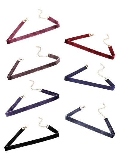 Multicolor Velvet Simple Skinny Choker Necklace Set