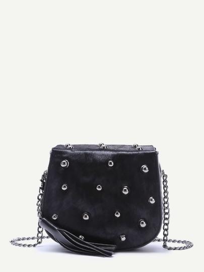 Black Tassel Trim Studded Horse Hair Crossbody Bag