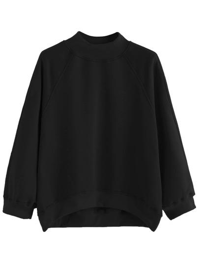 Sweat-shirt manche raglan ourlet descente -noir