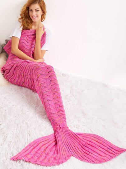 Couverture de sirène du crochet vague -rose