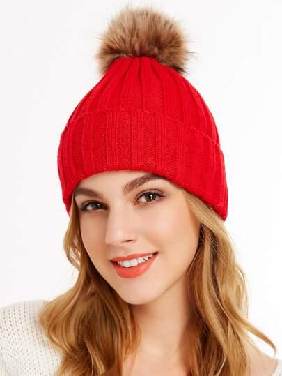 Chapeau à nervures tricoté pompom -rouge