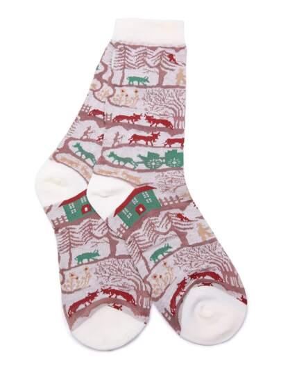 جوارب أسلوب عيد الميلاد المسيحي-حمراء