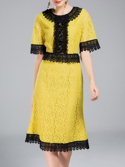 Yellow Contrast Black Lace Dress