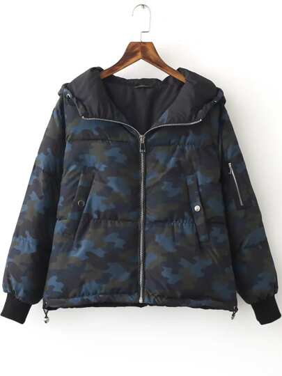 Blue Zipper Hooded Camouflage Padded Coat