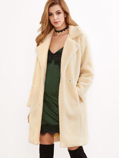 Abrigo con hombro drapeado con piel de oveja sintética un botón - albaricoque