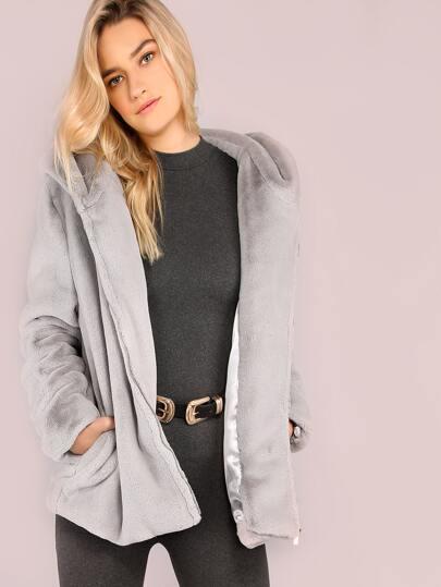 Silver Faux Fur Zip Up Coat