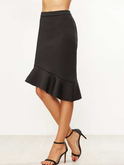 Black Ruffle Hem Asymmetric Pencil Skirt
