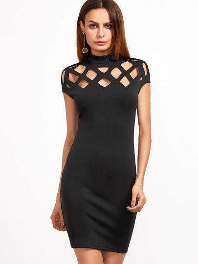 Black Caged Shoulder Zipper Back Bodycon Dress