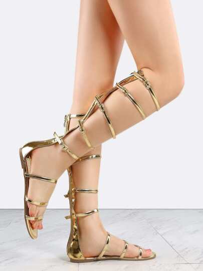 Open Toe Metallic Gladiator Sandals GOLD