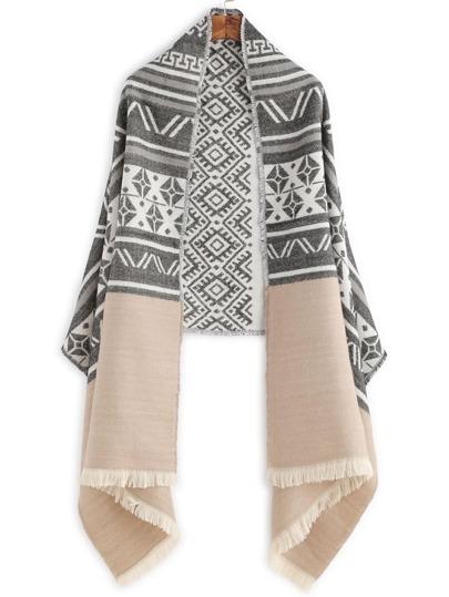 Чёрно-бежевый шарф шалью с этническим принтом с бахромой