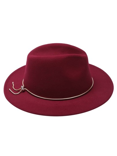 Burgundy Fedora Hat With Metal Jadoku Chain
