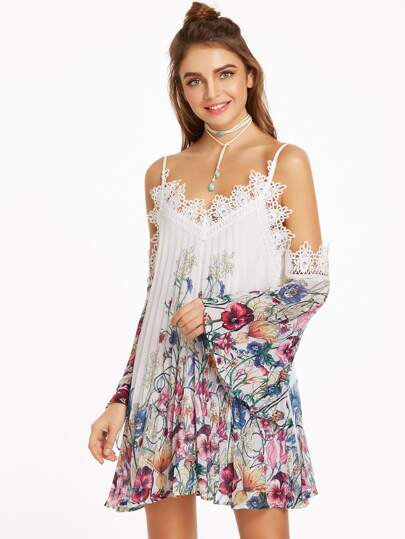 Multicolor Botanical Print Lace Trim Cold Shoulder Pleated Dress