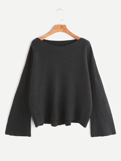 Black Drop Shoulder High Low Sweater