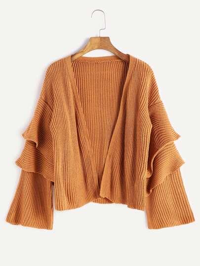 Khaki Drop Shoulder Tiered Bell Sleeve Sweater Coat