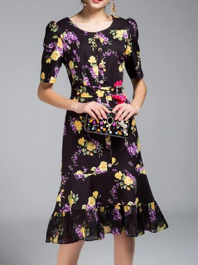 Black Floral Belted Frill Dress