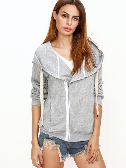 Heather Grey Asymmetric Zip Sweatshirt With Oversized Hood