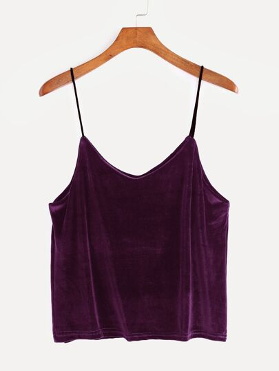 Top de terciopelo con tirantes - violeta