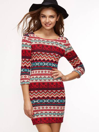 Robe moulante tricoté motif tribal - multicolore