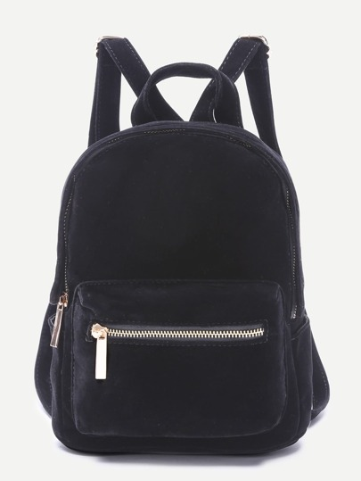 Black Pocket Front Double Handle Velvet Backpack
