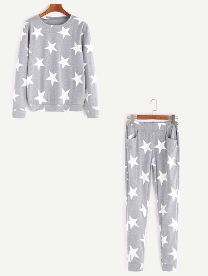 Grey Stars Print Sweatshirt With Elastic Waist Pants