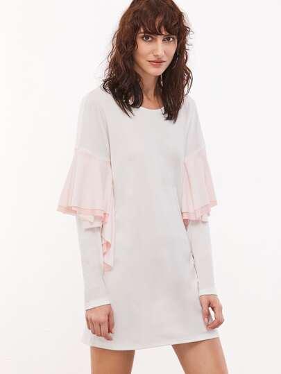 White Drop Shoulder Contrast Ruffle Trim Shift Dress
