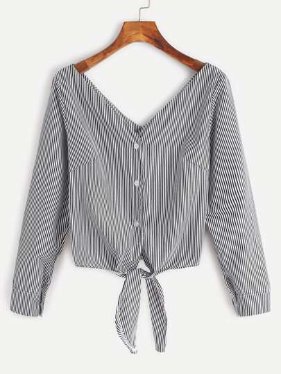 Vertical Striped Knotted Hem Button Blouse