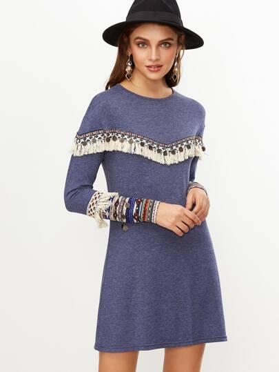Синее модное платье с вышивкой с оригинальной отделкой