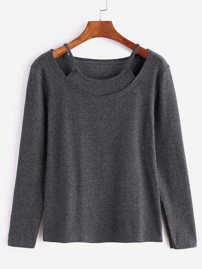 Dark Grey Long Sleeve 2 In 1 T-shirt