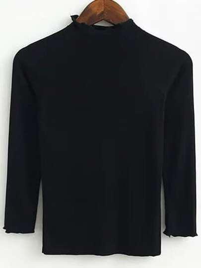 Jersey con manga raglán y cuello alto - negro