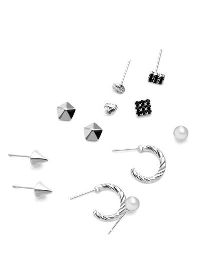 Silver Plated Geometric Stud Earrings Set