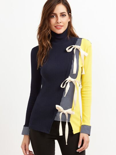 Color Block Contrast Striped Bow Tie Ribbed T-shirt
