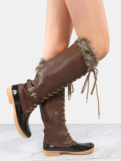 Faux Fur Knee High Duck Boots BROWN