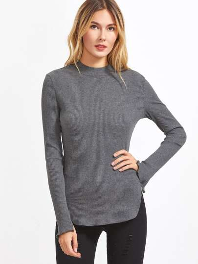 Grey Ribbed Knit Curved Hem Slit Sleeve T-shirt