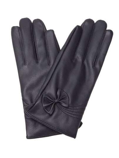 Black Faux Leather Bow Trim Elegant Gloves